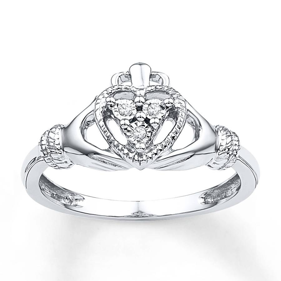 Kay – Claddagh Ring Diamond Accents Sterling Silver Within Claddagh Engagement Rings (View 12 of 15)