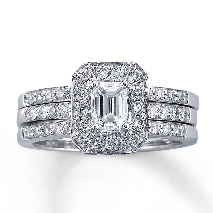 Kay – Diamond Bridal Set 1 1/5 Ct Tw Emerald Cut 14K White Gold Intended For Kay Jewelers Wedding Bands Sets (View 7 of 15)