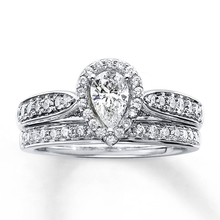 Kay – Diamond Bridal Set 1 1/5 Ct Tw Pear Shape 14K White Gold Intended For Pear Shaped Engagement Rings With Wedding Bands (View 10 of 15)
