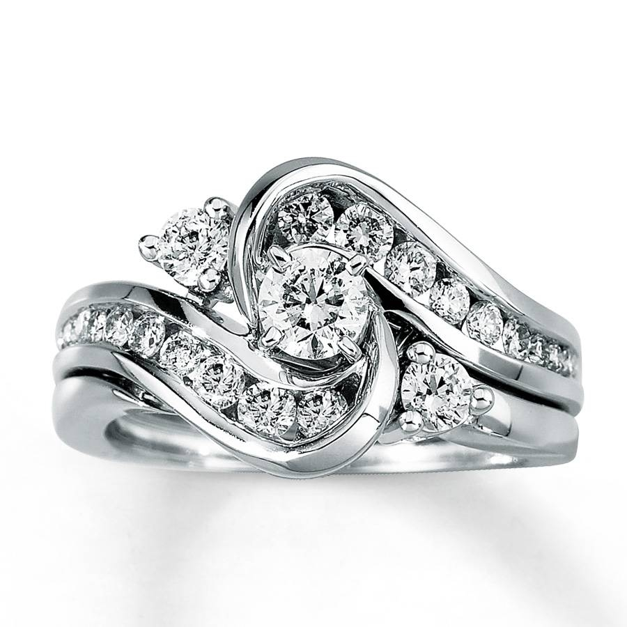 Kay – Diamond Bridal Set 1 Ct Tw Round Cut 14K White Gold Intended For White Gold Diamond Wedding Rings Sets (Gallery 2 of 15)
