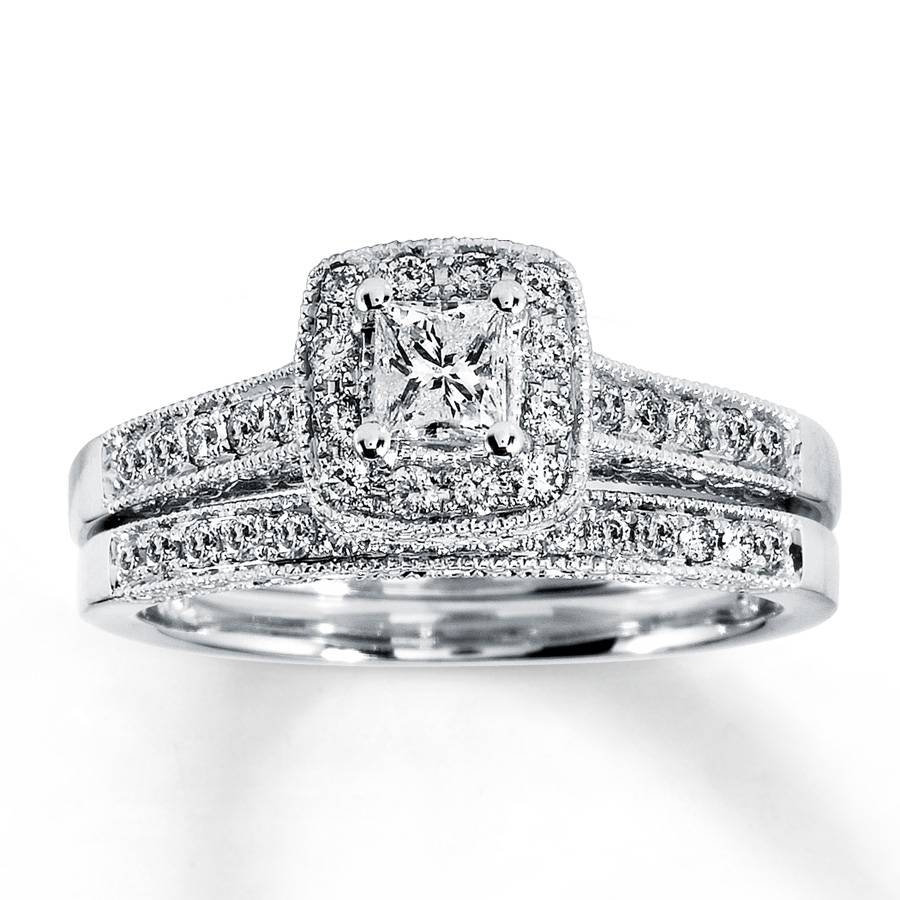 Kay – Diamond Bridal Set 1/2 Ct Tw Princess Cut 14K White Gold Within White Gold Diamond Wedding Rings Sets (Gallery 1 of 15)