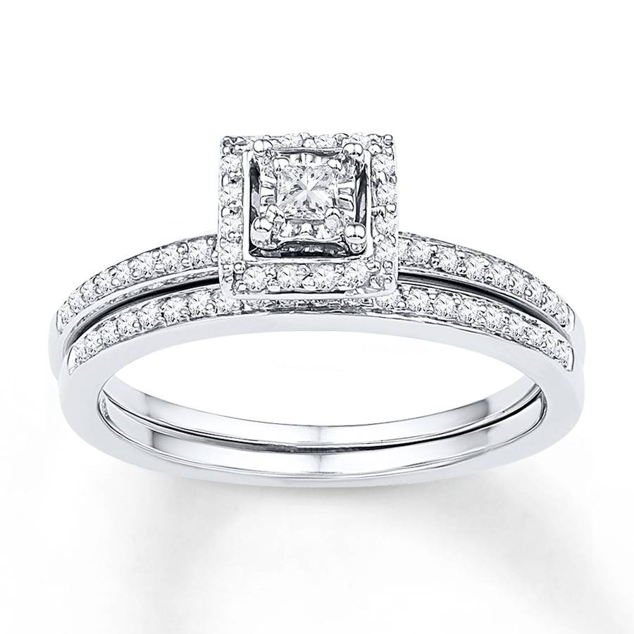 Kay – Diamond Bridal Set 1/4 Ct Tw Princess Cut 10K White Gold Regarding Princess Cut Diamond Wedding Rings Sets (View 5 of 15)