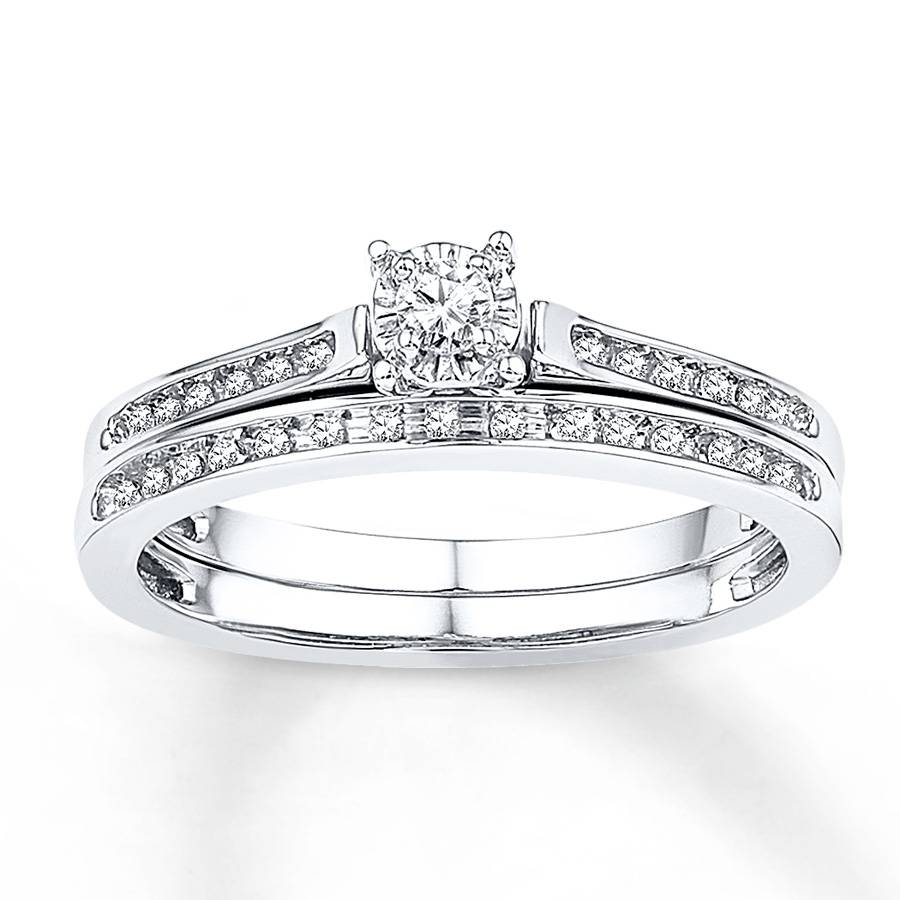 Kay – Diamond Bridal Set 1/8 Ct Tw Round Cut 10K White Gold In White Gold Diamond Wedding Rings Sets (Gallery 7 of 15)
