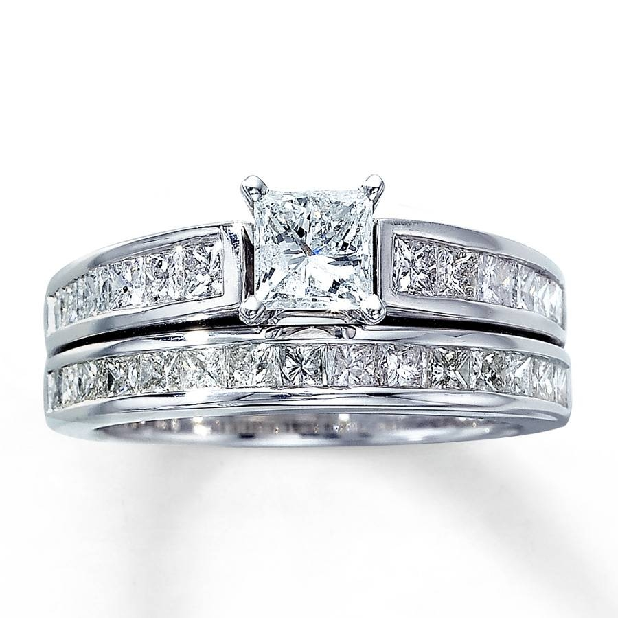 Kay – Diamond Bridal Set 2 Ct Tw Princess Cut 14K White Gold Inside Princess Cut Diamond Wedding Rings Sets (View 6 of 15)