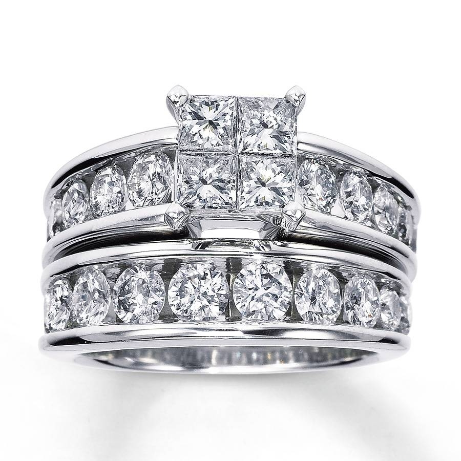 Kay – Diamond Bridal Set 3 Ct Tw 14K White Gold In Wedding Bands At Kay Jewelers (View 6 of 15)