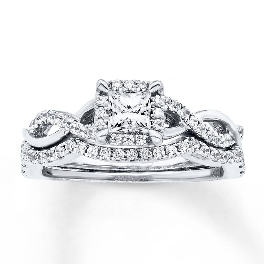 Kay – Diamond Bridal Set 3/4 Carat Tw 14k White Gold Regarding White Gold Diamond Wedding Rings Sets (View 8 of 15)