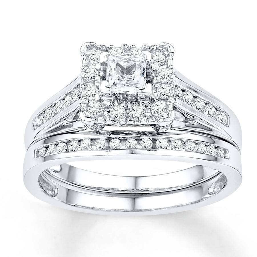 Kay – Diamond Bridal Set 5/8 Ct Tw Round Cut 10K White Gold Intended For White Gold Diamond Wedding Rings Sets (View 13 of 15)