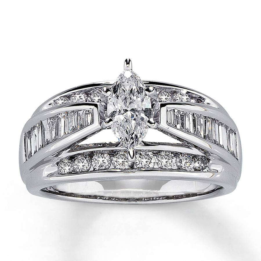 Kay – Diamond Engagement Ring 1 1/2 Ct Tw Marquise Cut 14k White Gold Regarding Marquise Cut Diamond Wedding Rings Sets (View 9 of 15)
