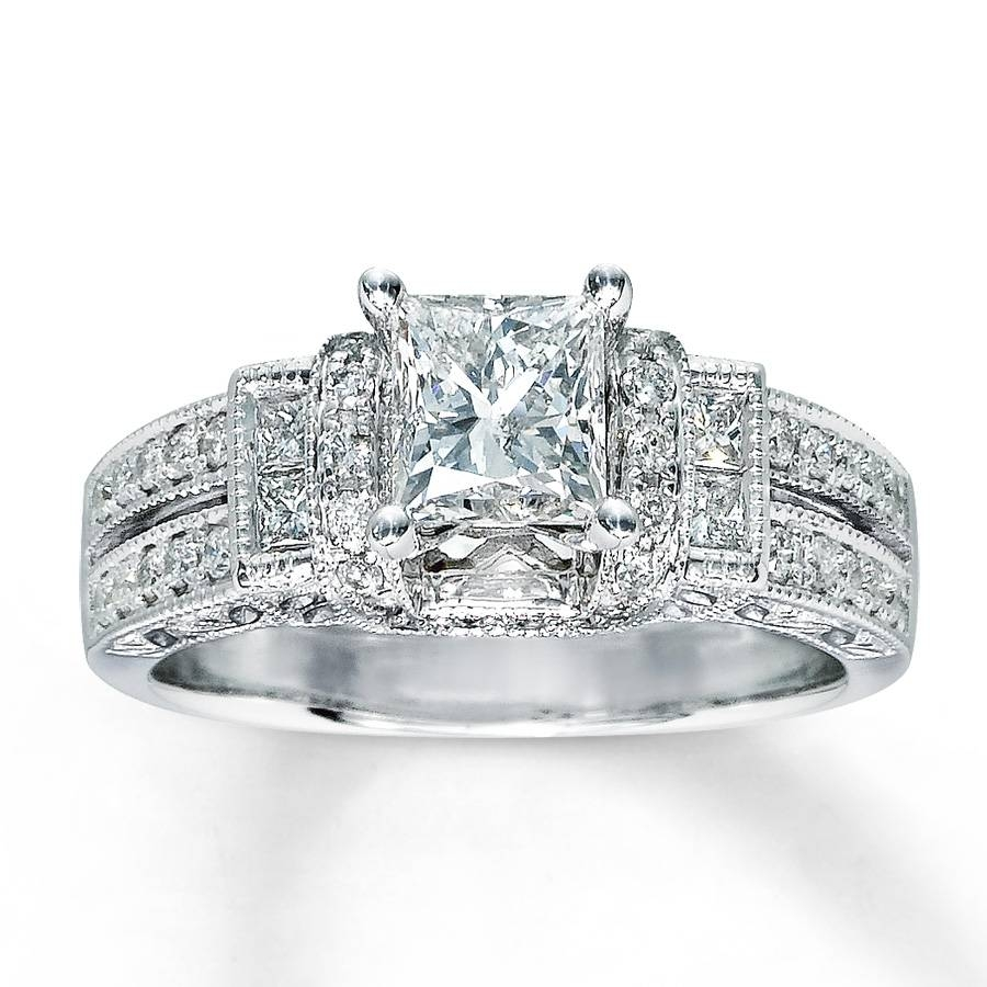 Kay – Diamond Engagement Ring 1 3/8 Ct Tw Princess Cut 14k White Gold Regarding White Gold Diamond Cut Wedding Rings (View 11 of 15)