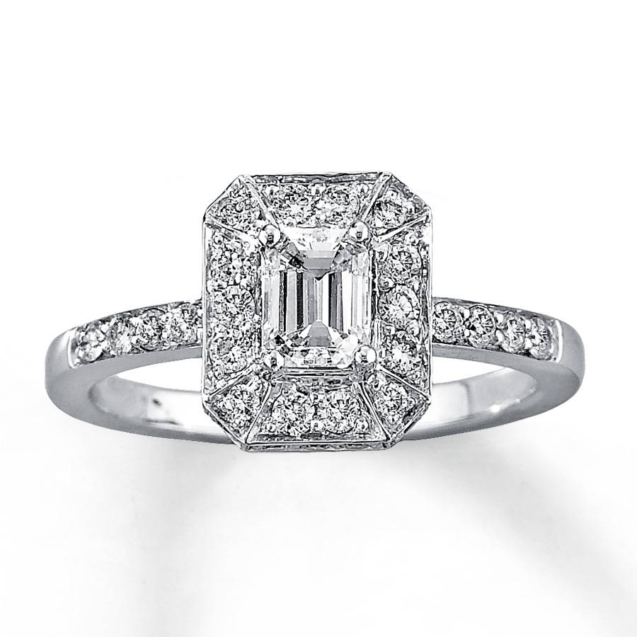 Kay – Diamond Engagement Ring 1 Ct Tw Emerald Cut 14K White Gold Pertaining To White Gold Diamond Cut Wedding Rings (Gallery 12 of 15)