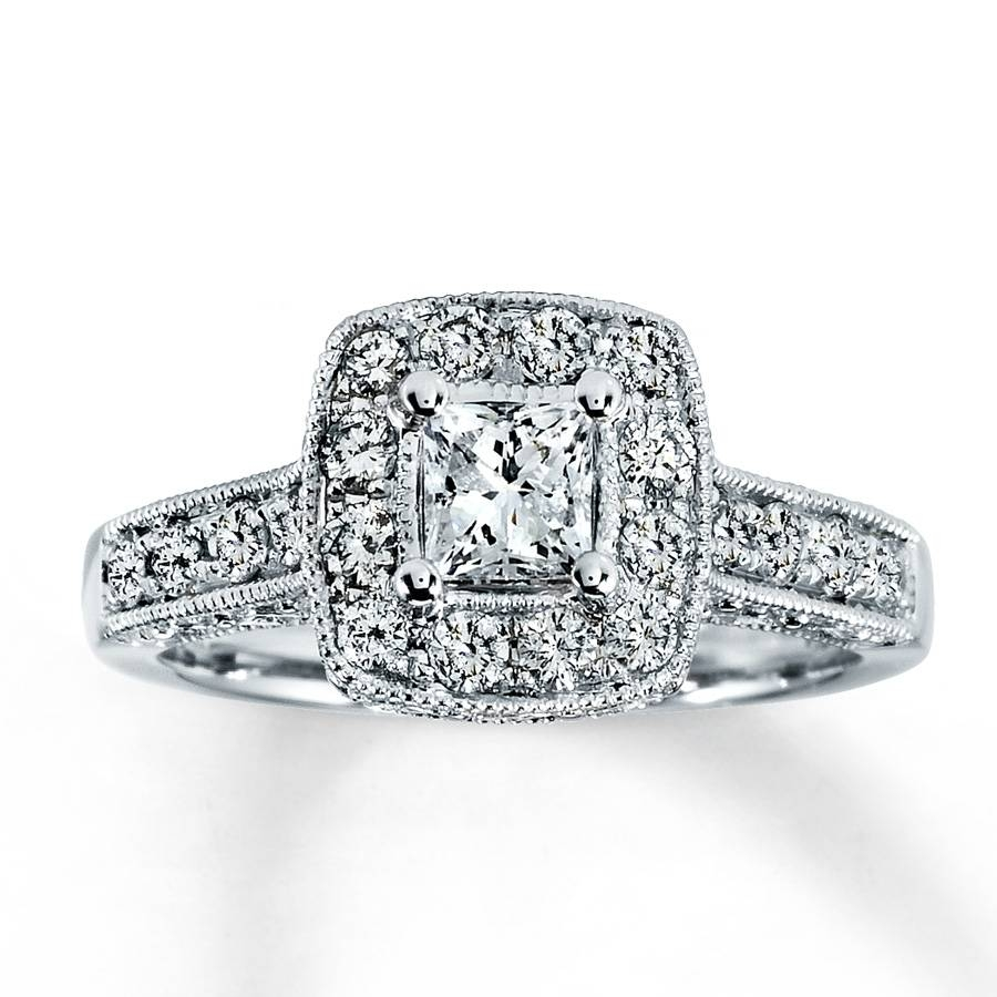 Kay – Diamond Engagement Ring 1 Ct Tw Princess Cut 14K White Gold Within Wedding Bands At Kay Jewelers (Gallery 8 of 15)