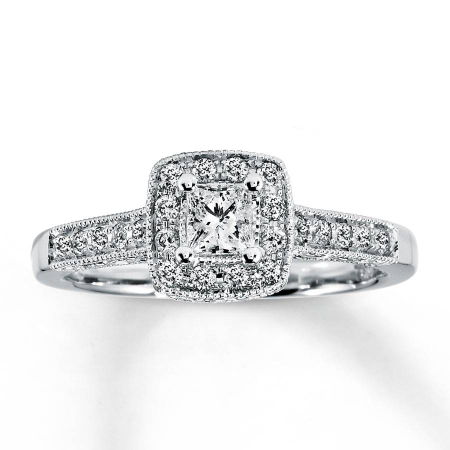 Kay – Diamond Engagement Ring 1/2 Ct Tw Princess Cut 14k White Gold With Princess Cut Diamond Wedding Rings For Women (View 5 of 15)