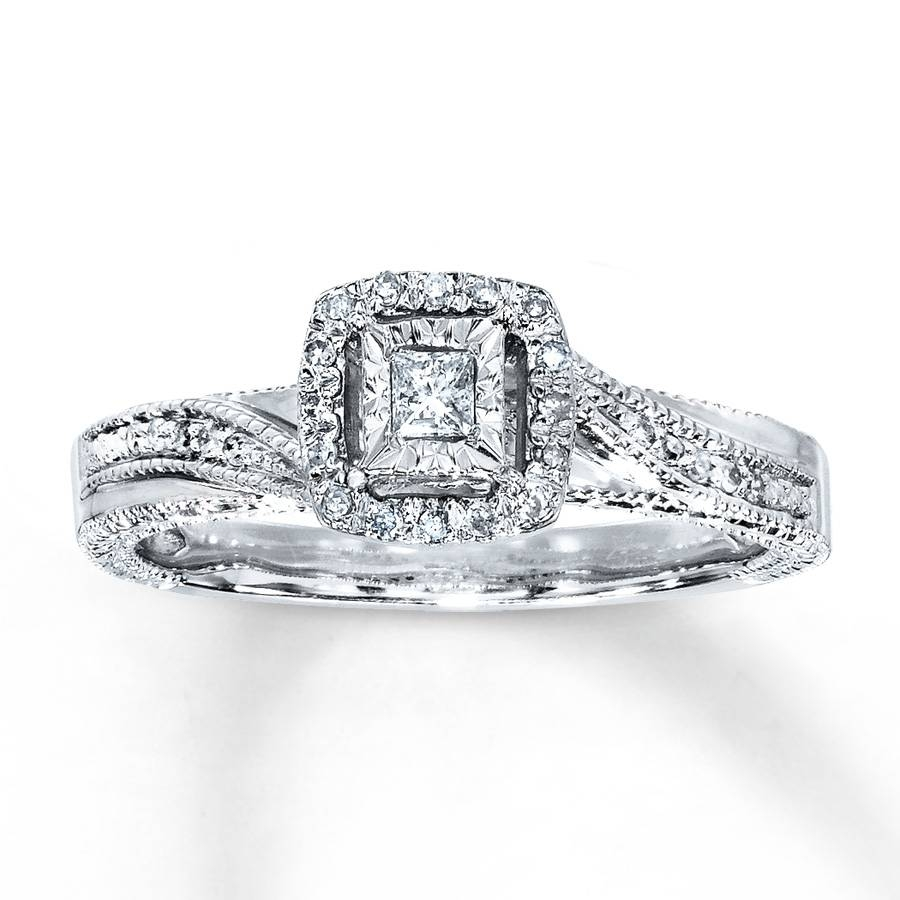 Kay – Diamond Ring 1/6 Ct Tw Princess Cut Sterling Silver Regarding Silver Engagement Bands (View 7 of 15)