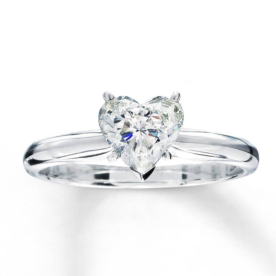 Kay – Diamond Solitaire Ring 1 Carat Heart Shaped 14k White Gold Intended For Heart Engagement Rings (View 3 of 15)