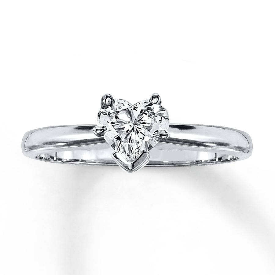Kay – Diamond Solitaire Ring 1/2 Carat Heart Shaped 14k White Gold With Regard To Heart Engagement Rings (View 5 of 15)