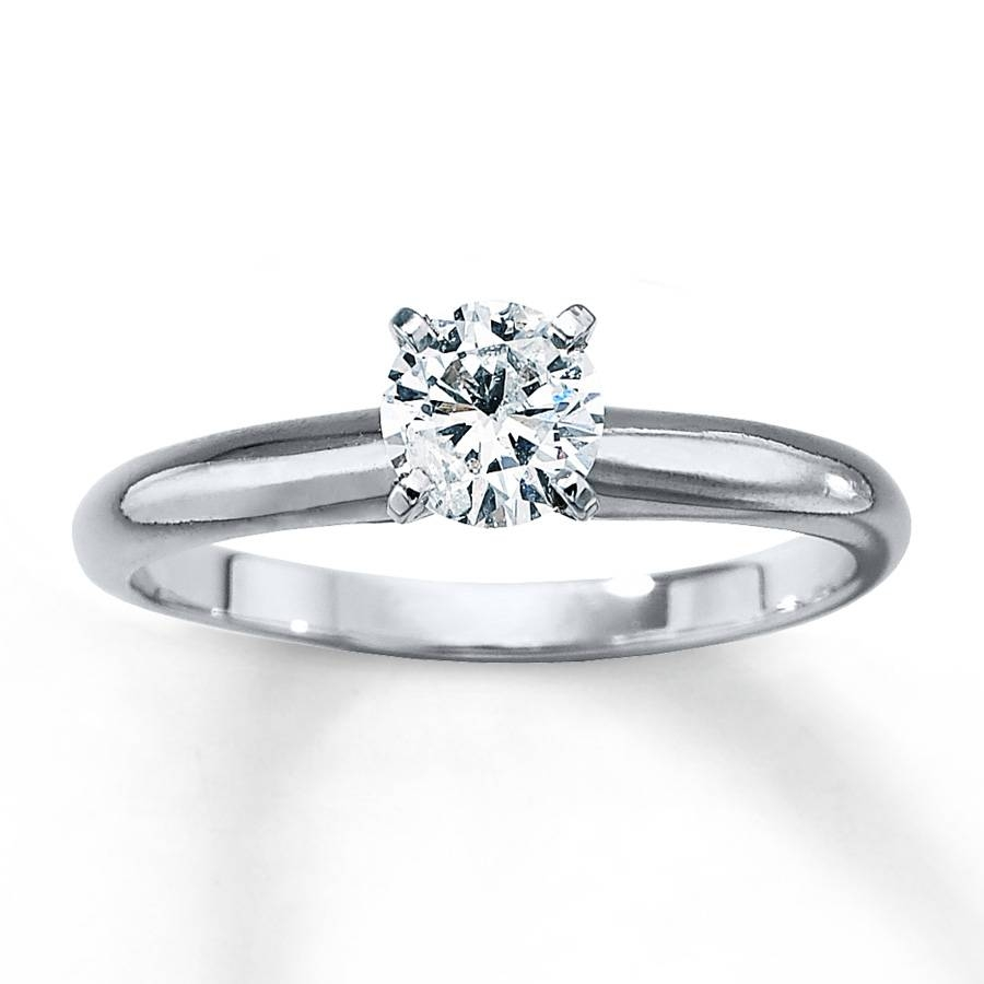 Kay – Diamond Solitaire Ring 1/2 Carat Round Cut 14k White Gold With 14 Karat Wedding Rings (View 11 of 15)