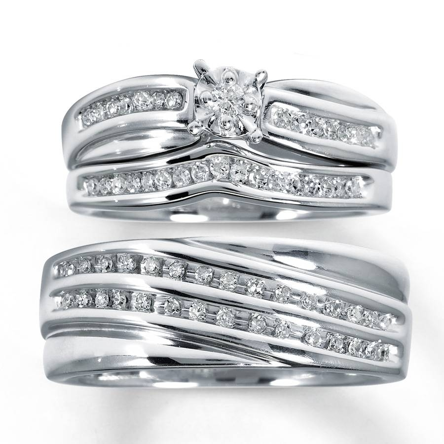 Kay – Diamond Trio Wedding Set 1/3 Ct Tw Round Cut Sterling Silver With Trio Engagement Ring Sets (Gallery 6 of 15)