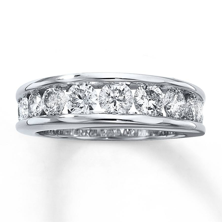Kay – Diamond Wedding Band 1 1/2 Ct Tw Round Cut 14K White Gold Inside 2 Band Wedding Rings (View 11 of 15)