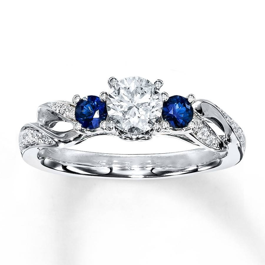 Kay – Diamond/sapphire Ring 1/2 Ct Tw Round Cut 14K White Gold In Engagement Rings Sapphire (View 13 of 15)