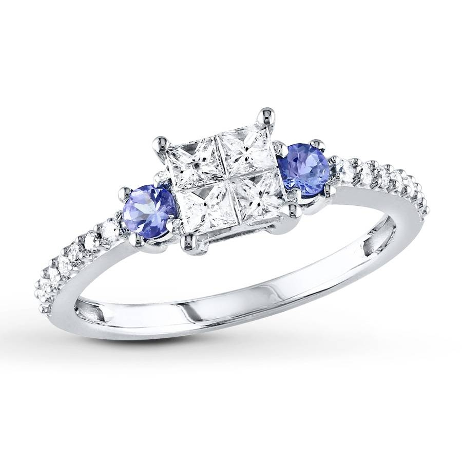 Kay – Diamond/tanzanite Ring 1/2 Carat Tw 14K White Gold Pertaining To Engagement Rings Tanzanite (Gallery 12 of 15)
