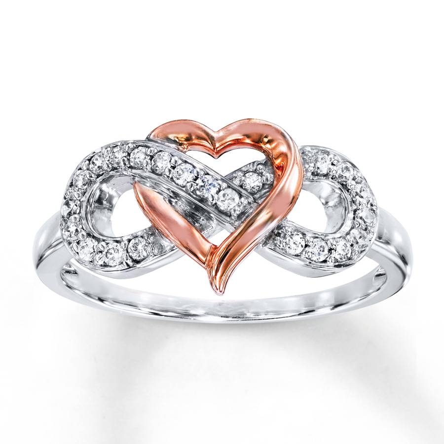Kay – Heart Infinity Ring 1/6 Ct Tw Diamonds Sterling Silver/10K Gold In Infinity Symbol Engagement Rings (View 11 of 15)