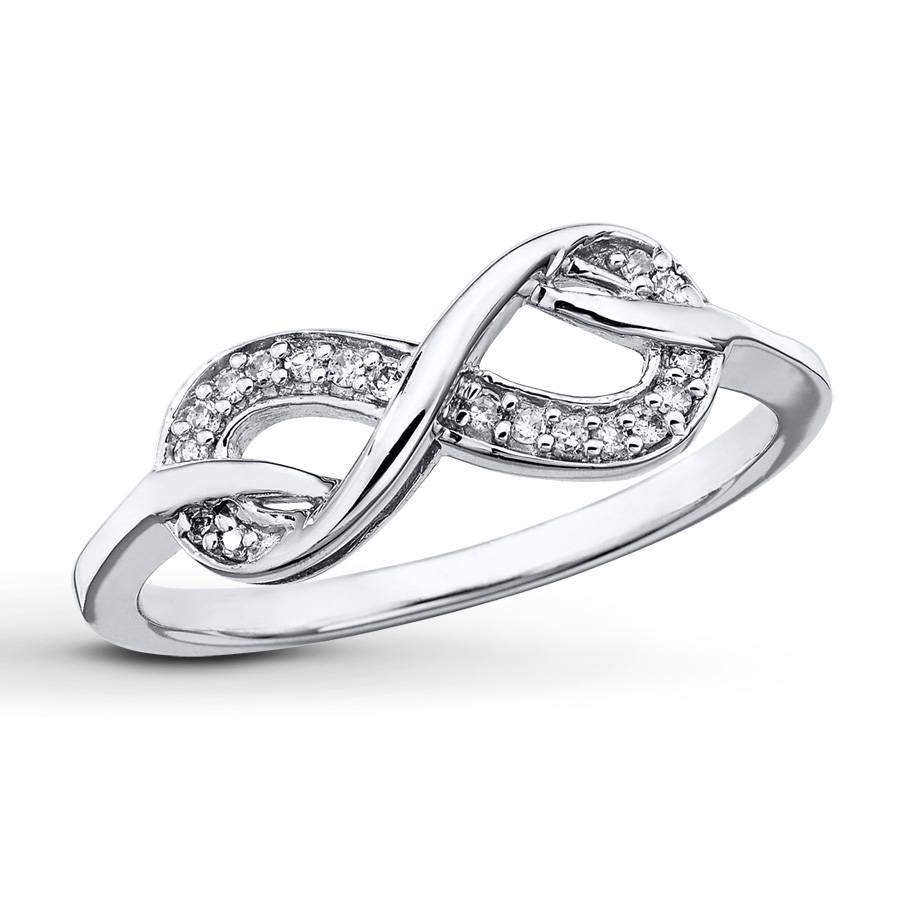 Kay – Infinity Symbol Ring 1/15 Ct Tw Diamonds Sterling Silver Within Infinity Symbol Engagement Rings (View 12 of 15)