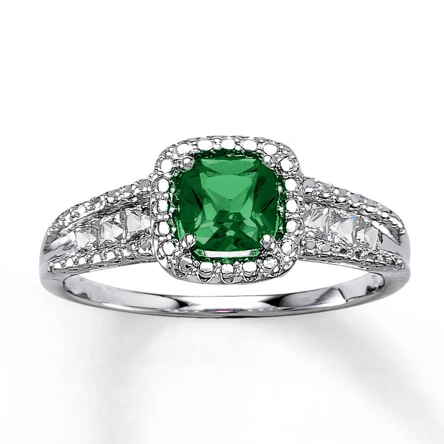 Kay – Lab Created Emerald Ring Cushion Cut Sterling Silver Within Silver Emerald Engagement Rings (View 4 of 15)