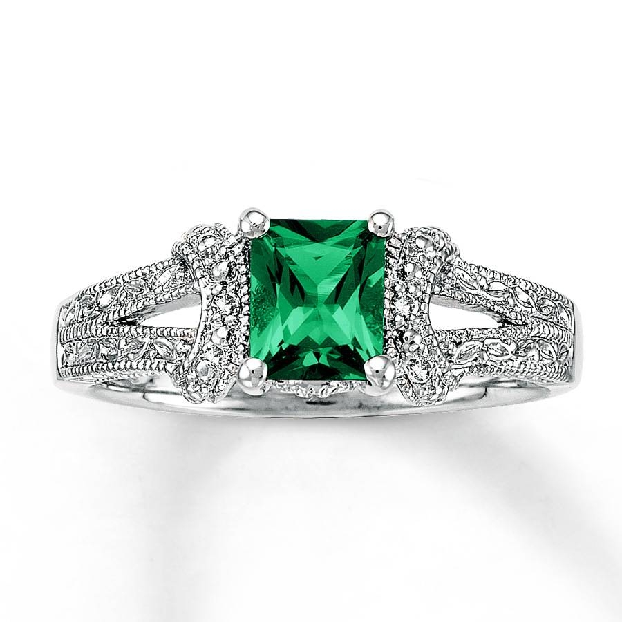 Kay – Lab Created Emerald Ring Diamond Accents Sterling Silver Pertaining To Silver Emerald Engagement Rings (Gallery 1 of 15)