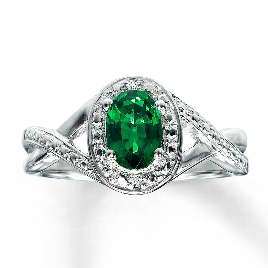 Kay – Lab Created Emerald Ring Diamond Accents Sterling Silver Throughout Silver Emerald Engagement Rings (View 2 of 15)