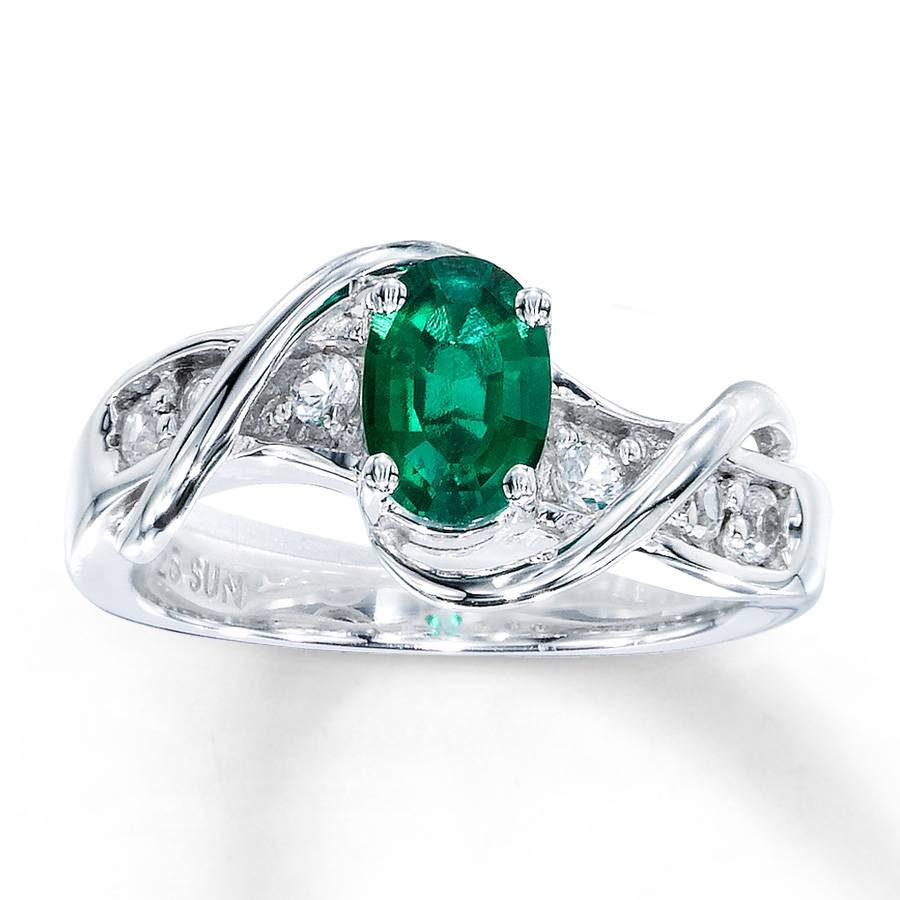 Kay – Lab Created Emerald Ring Lab Created Sapphires Sterling Silver Inside Silver Emerald Engagement Rings (View 6 of 15)