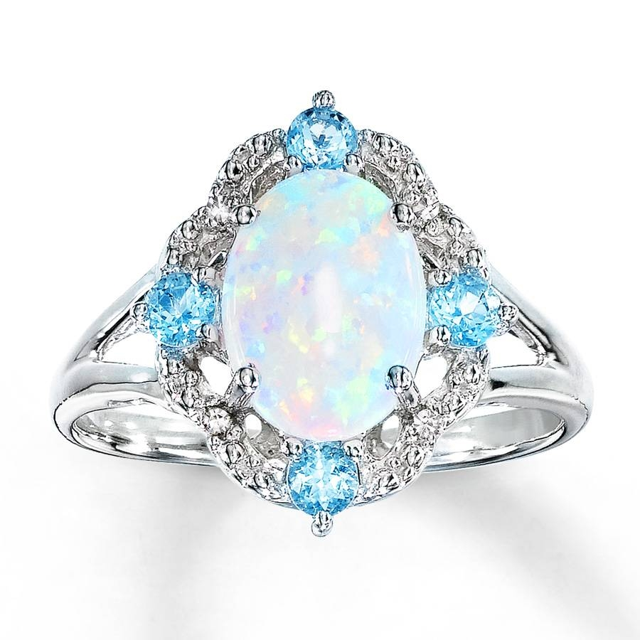 Kay – Lab Created Opal Ring Blue Topaz & Diamonds Sterling Silver Pertaining To Blue Opal Wedding Rings (View 9 of 15)