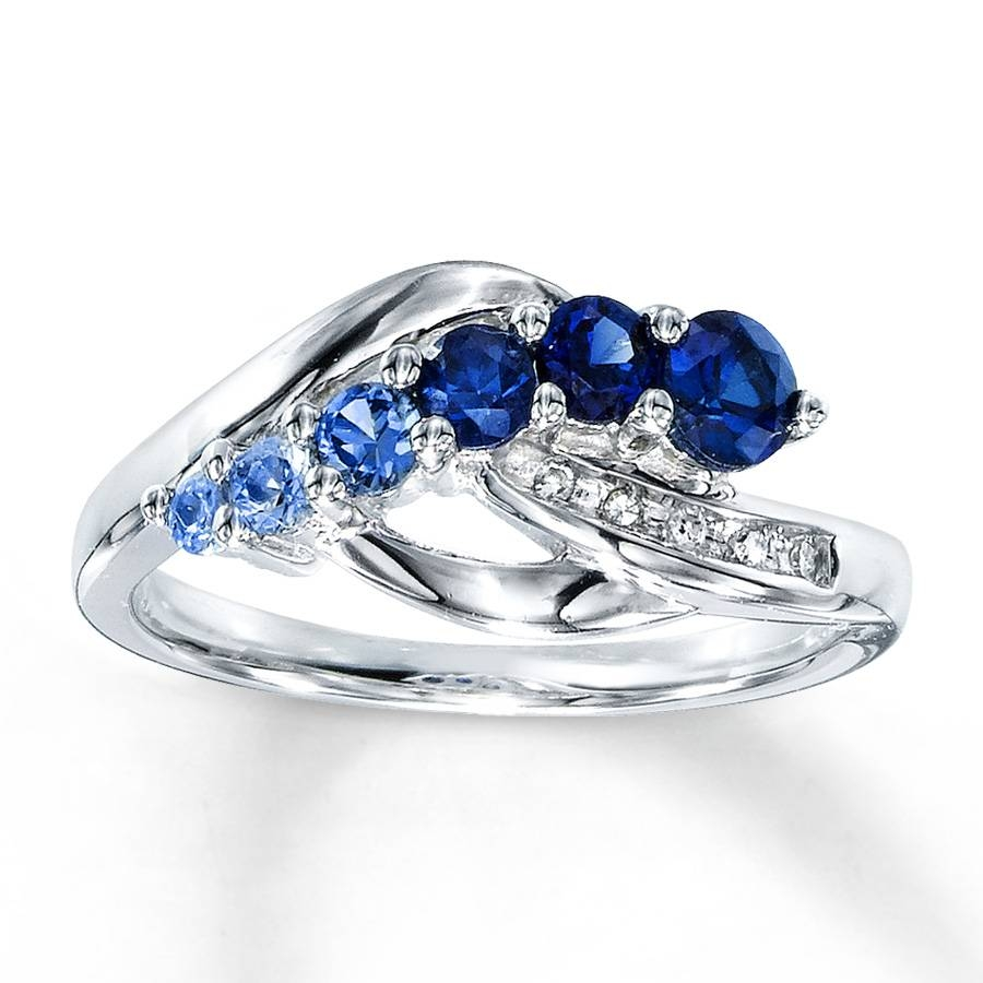 Kay – Lab Created Sapphire Ring Diamond Accents Sterling Silver In Engagement Rings With Sapphires (Gallery 7 of 15)