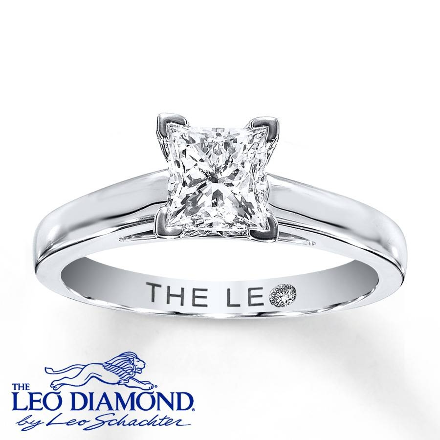 Kay – Leo Diamond Solitaire 1 Ct Princess Cut 14K White Gold Ring Pertaining To Princess Engagement Rings (View 7 of 15)