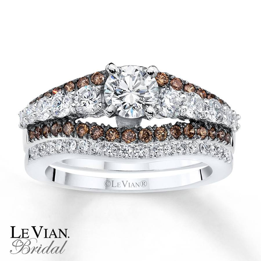 Kay – Levian Chocolate Diamonds 1 1/2 Ct Tw Bridal Set 14K Gold Intended For Chocolate Diamond Wedding Bands (Gallery 11 of 15)