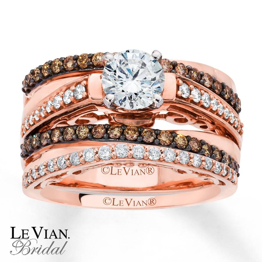 Kay – Levian Chocolate Diamonds 1 1/3 Ct Tw Bridal Set 14K Gold In Chocolate Gold Wedding Bands (View 10 of 15)