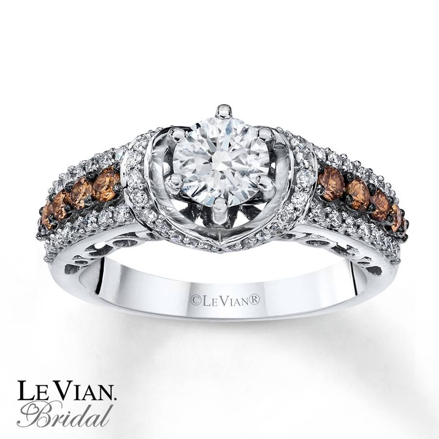Kay – Levian Chocolate Diamonds 1 1/4 Ct Tw 14K Gold Engagement Ring With Chocolate Gold Wedding Bands (View 11 of 15)