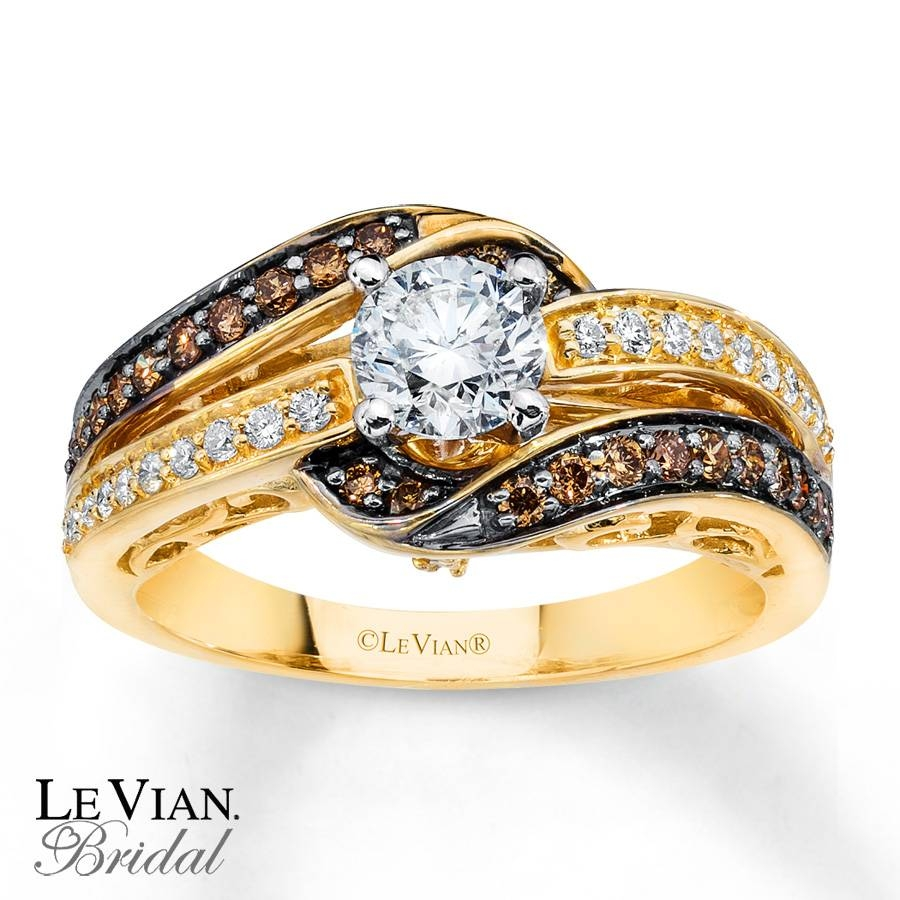 Kay – Levian Chocolate Diamonds 1 Ct Tw Engagement Ring 14K Gold With Chocolate Wedding Bands (View 9 of 15)