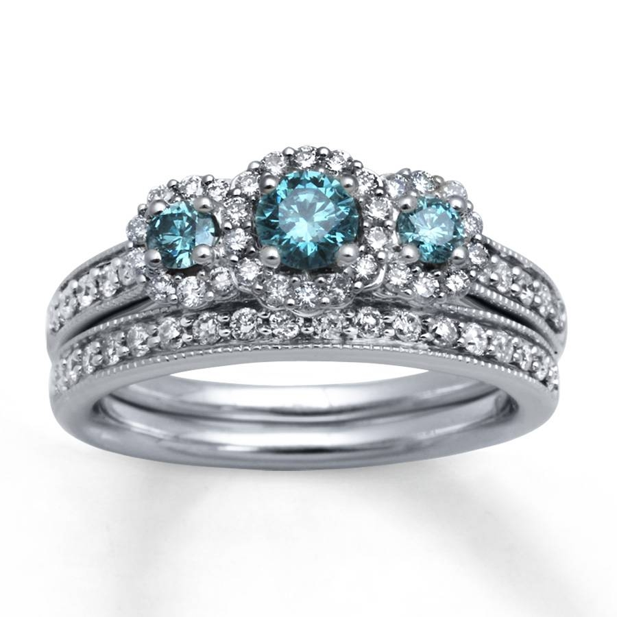 Kay – Light Blue Diamonds 1 Ct Tw Bridal Set 14K White Gold For Blue Diamond Wedding Rings Sets (View 14 of 15)