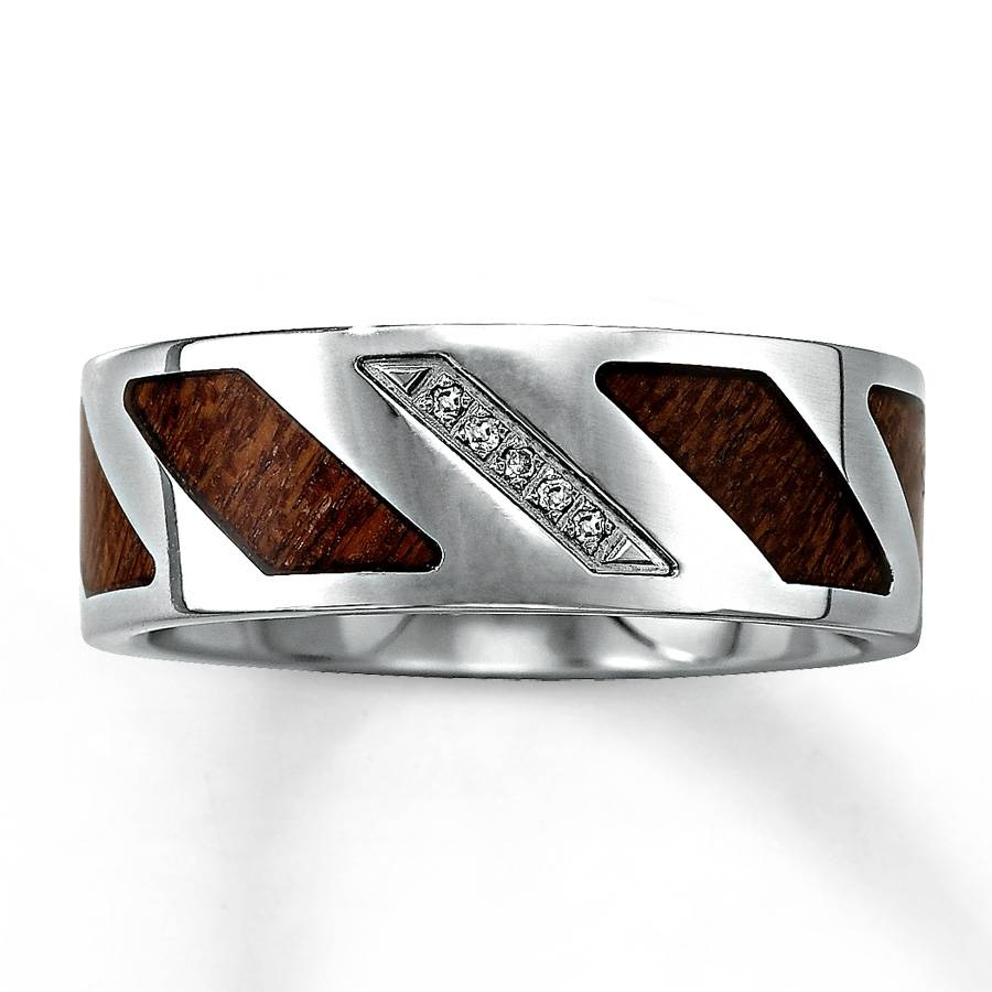 Kay – Men's 8mm Wedding Band 1/15 Ct Tw Diamonds Stainless Steel Intended For Wood Inlay Men's Wedding Bands (View 9 of 15)