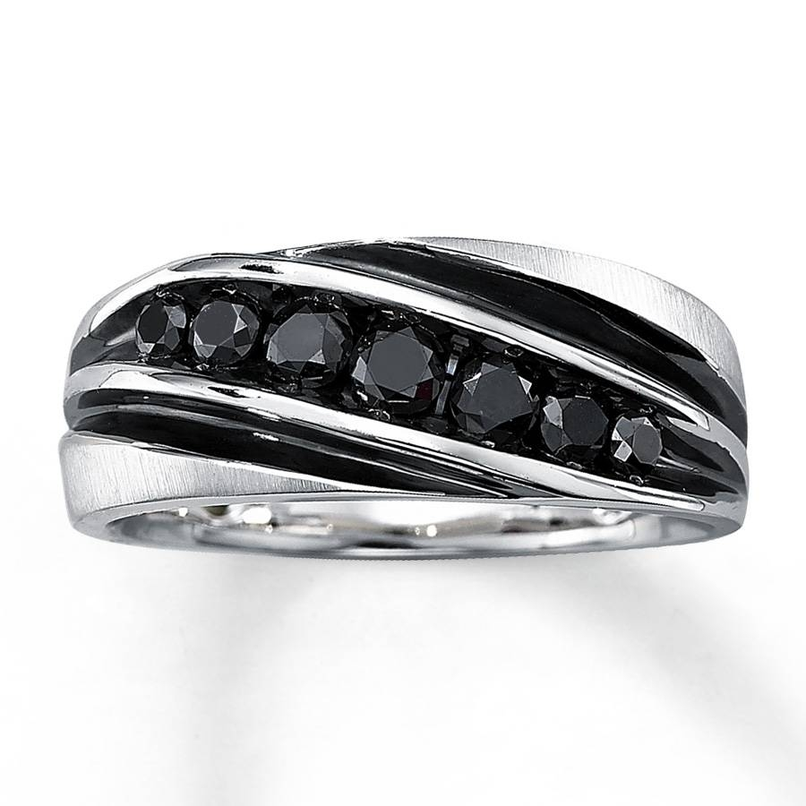 Kay – Men's Black Diamond Ring 3/4 Ct Tw Round Cut 10K White Gold With Black Diamonds Men Wedding Bands (View 6 of 15)