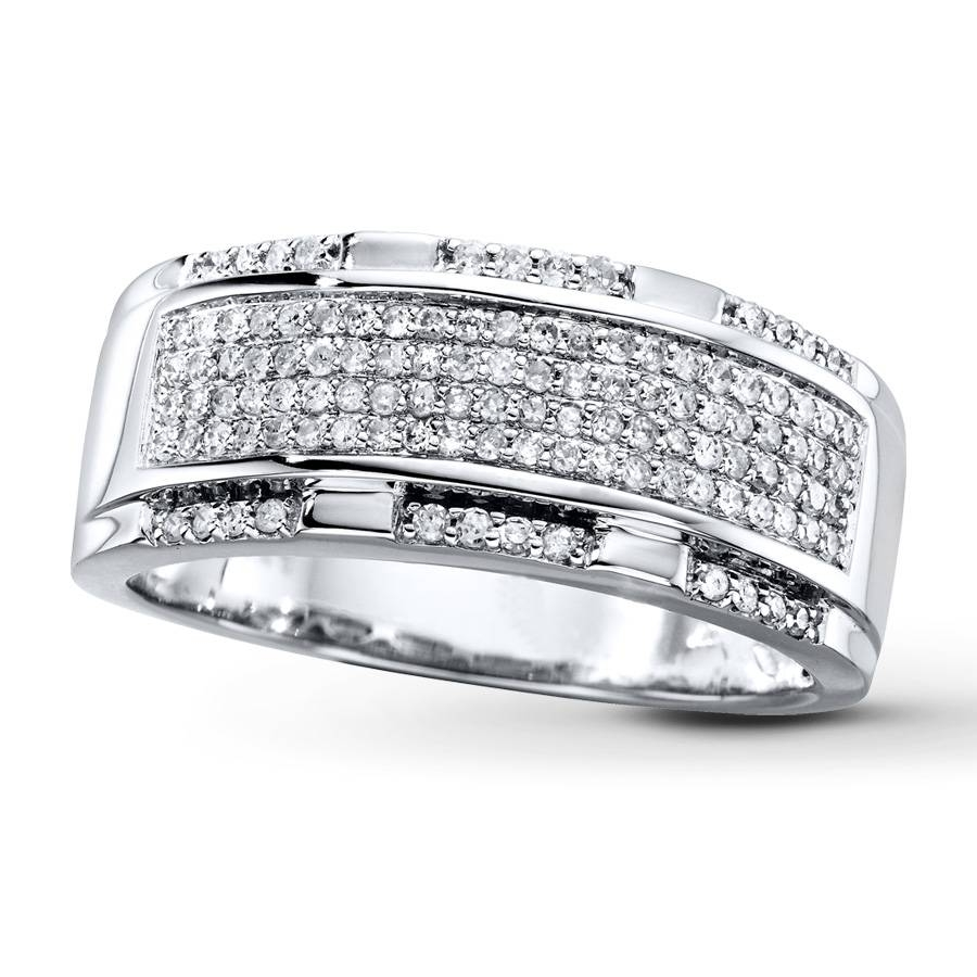 Kay – Men's Diamond Band 1/2 Ct Tw Round Cut 10K White Gold Inside Wedding Bands At Kay Jewelers (View 10 of 15)