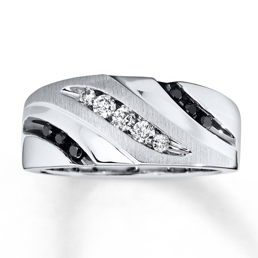 Kay – Men's Diamond Band 1/3 Ct Tw Black/white 10K White Gold With Kay Jewelry Wedding Bands (Gallery 14 of 15)
