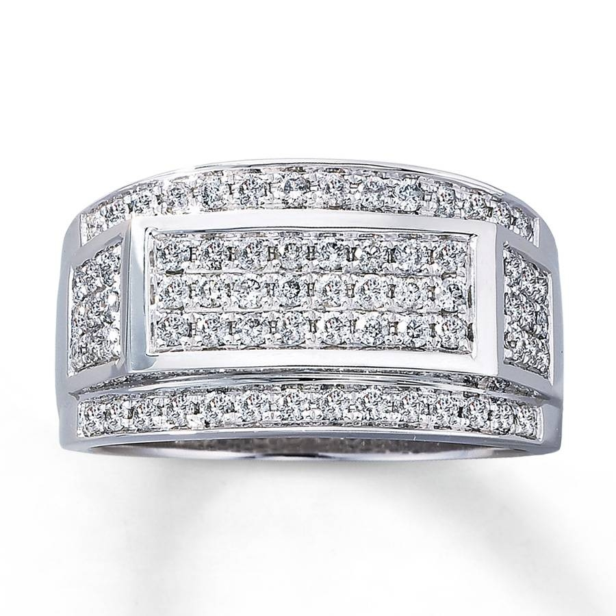 Kay – Men's Diamond Ring 1 Ct Tw Round Cut 10K White Gold With Kay Jewelers Wedding Bands For Men (View 5 of 15)
