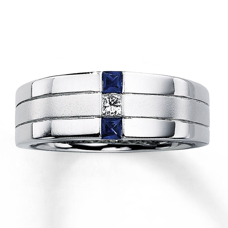 Kay – Men's Sapphire Ring 1/10 Ct Diamond 14K White Gold Pertaining To Men's Wedding Bands With Blue Sapphire (View 9 of 15)