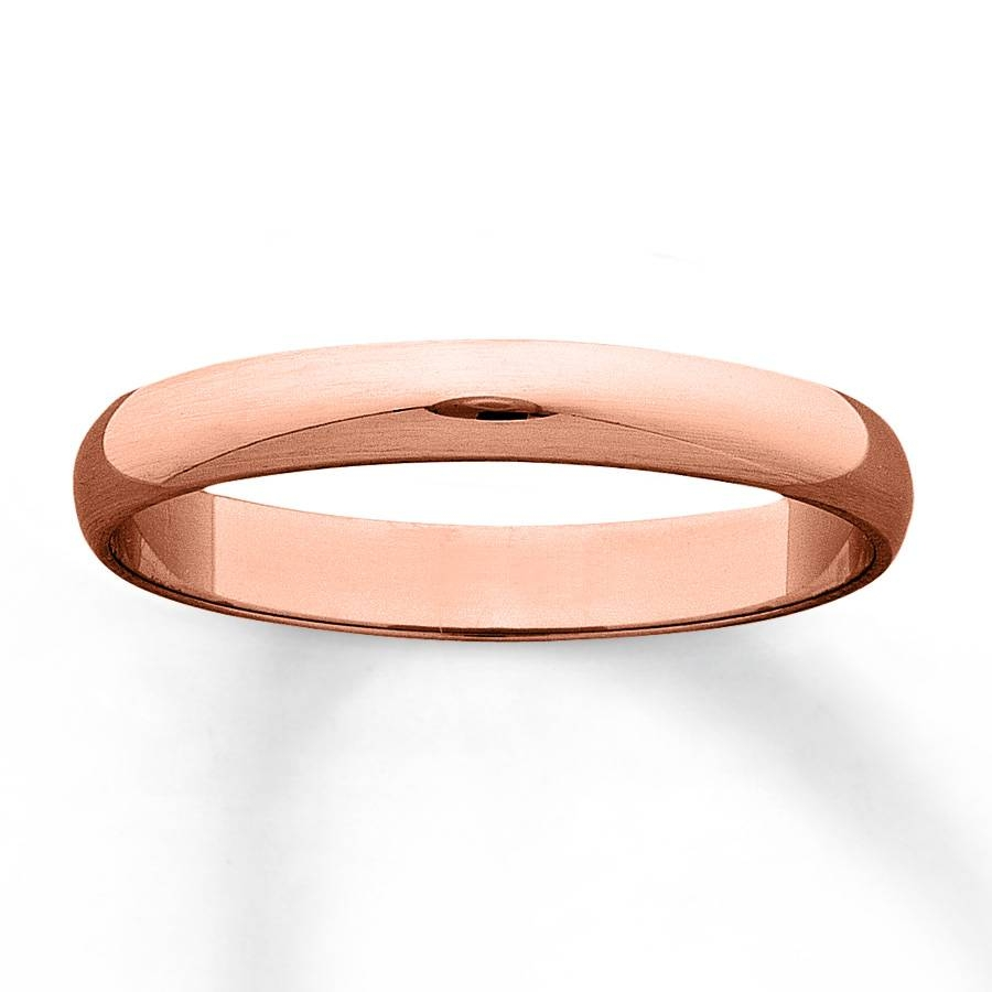 Kay – Men's Wedding Band 10K Rose Gold 3Mm Inside Male Rose Gold Wedding Bands (Gallery 2 of 15)