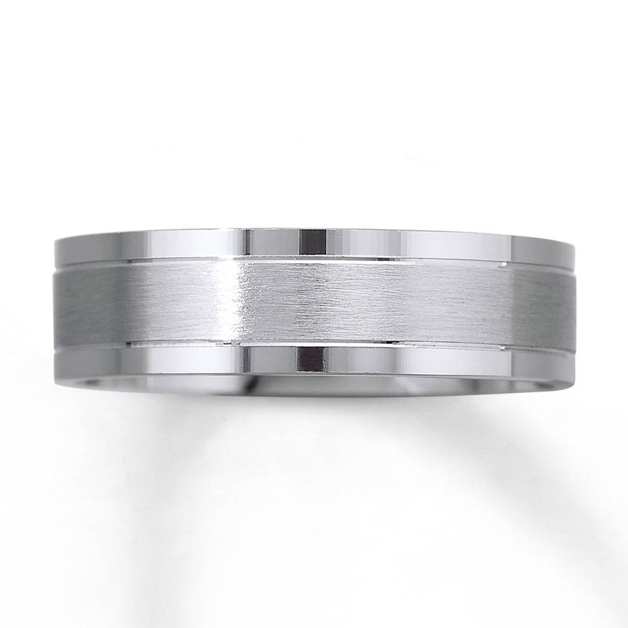 Kay – Men's Wedding Band 10K White Gold 6Mm With Black And White Gold Men's Wedding Bands (View 9 of 15)