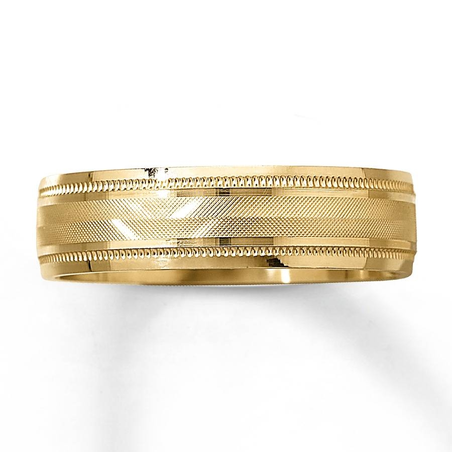 Kay – Men's Wedding Band 10k Yellow Gold 6mm In Men's Yellow Gold Wedding Bands With Diamonds (View 7 of 15)