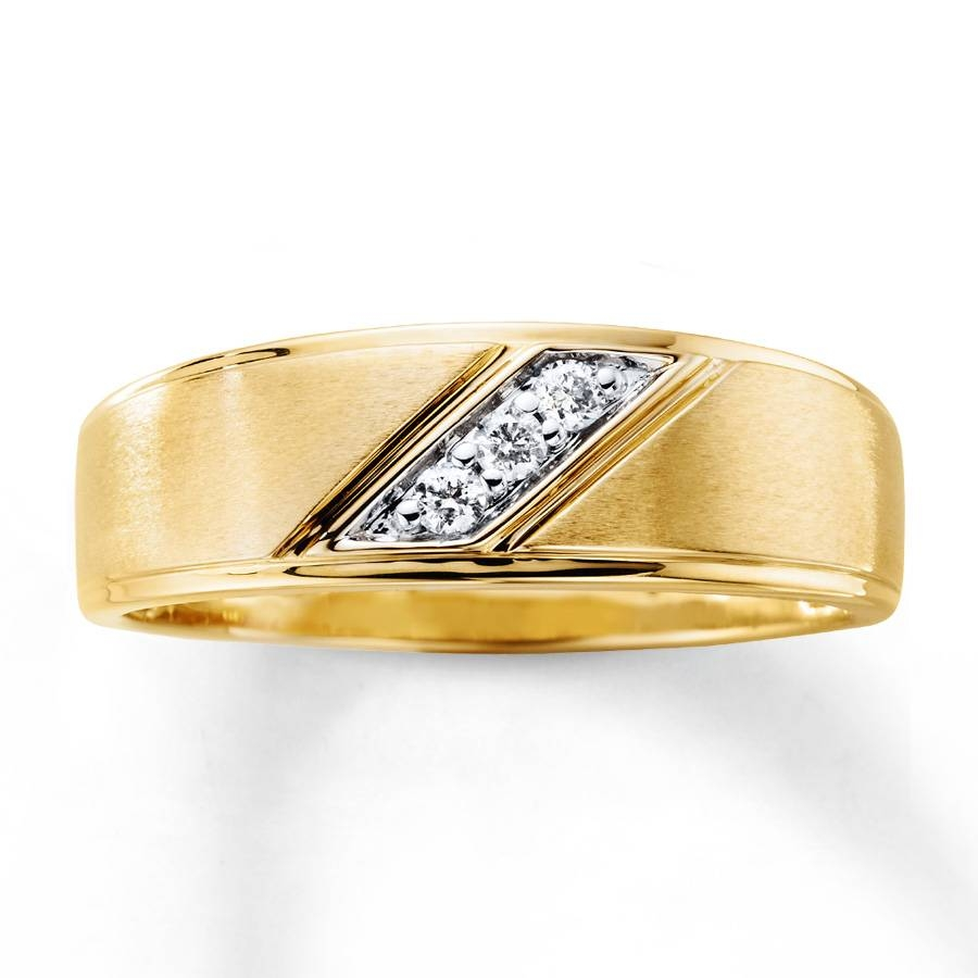 Kay – Men's Wedding Band 1/10 Ct Tw Diamonds 10K Yellow Gold Within Men's Yellow Gold Wedding Bands With Diamonds (View 9 of 15)