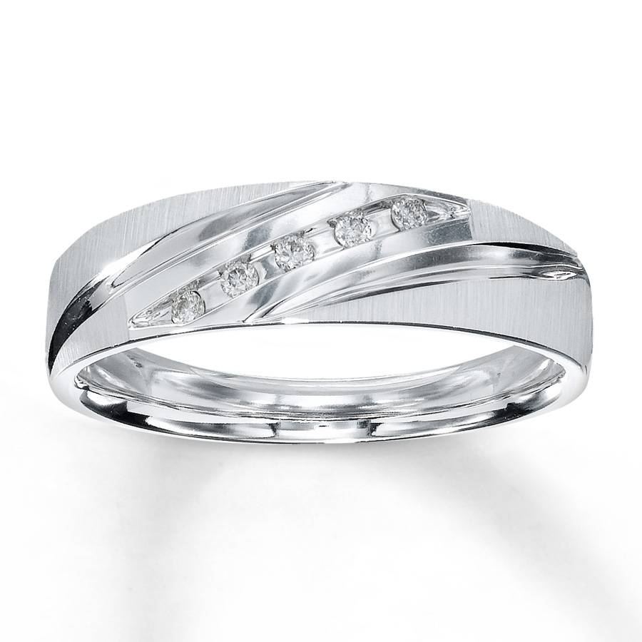 Kay – Men's Wedding Band 1/15 Ct Tw Round Cut 10K White Gold For White Gold Male Wedding Bands (View 6 of 15)