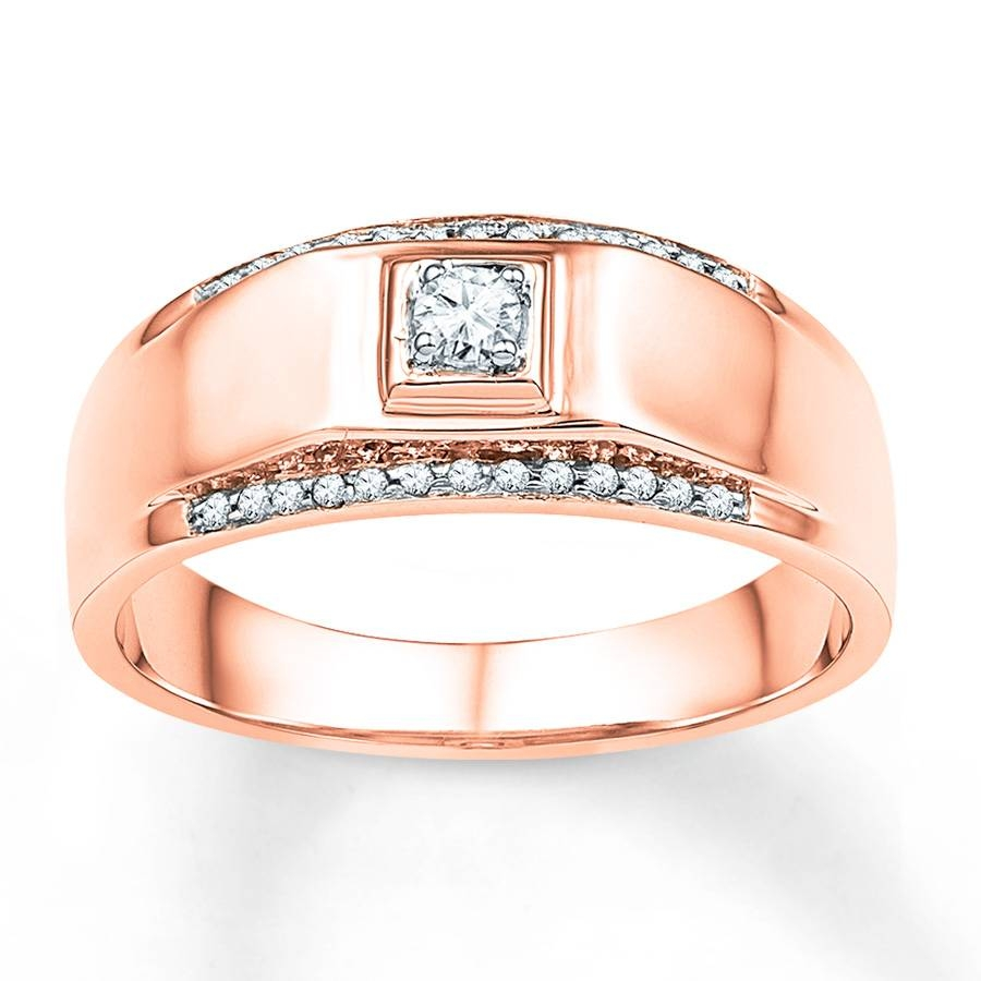 Kay – Men's Wedding Band 1/6 Ct Tw Diamonds 10K Rose Gold Regarding Gold Mens Engagement Rings (View 11 of 15)